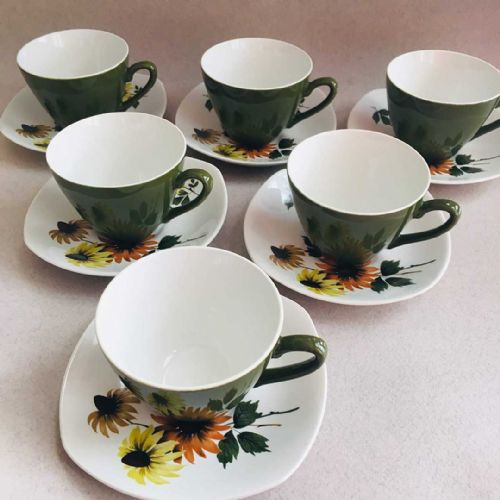Midwinter Stylecraft - Daisytime Demitasse Duo x 6 - 1960s